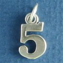 Number 5 Sterling Silver Charm Pendant
