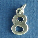 Number 8 Sterling Silver Charm Pendant