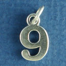 Number 9 Sterling Silver Charm Pendant
