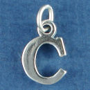 Large Alphabet Letter Initial C Sterling Silver Charm Pendant