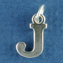 Large Alphabet Letter Initial J Sterling Silver Charm Pendant