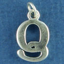 Large Alphabet Letter Initial Q Sterling Silver Charm Pendant