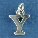 Large Alphabet Letter Initial Y Sterling Silver Charm Pendant