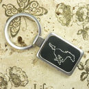 Rectangle Engraved Keychains Silver Tone with Black