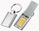Rectangle Key Chain with Photo Frame Silver Tone