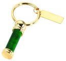 Marble Key Chain with Engraving Plate Green