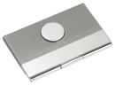 Silver Business Card Case with Silver Tone Emblem Personalized Gift Item