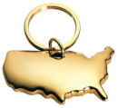 USA Key Chain Gold Tone