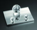 Crystal and Silver Tone Desktop Business Card Holder