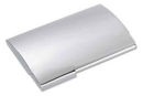 Polished Finish Card Case in Silver Tone with Engravable Domed Cove