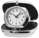 Metal Travel Alarm Clock Engravable in Silver Tone