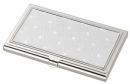 Silver Tone Business Card Case with Star Patterned Decretive Top Engrave Your Logo Inside or on the Back