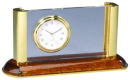 Card Holder and Clock with Wooden Base in Brown