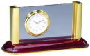 Card Holder and Clock with Wooden Base in Rosewood