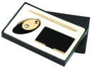Card Case, Memo Holder and Pen Gift Set in Black