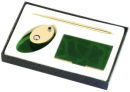 Card Case, Memo Holder and Pen Gift Set in Green