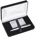 Card Case and Pen Gift Set in Silver