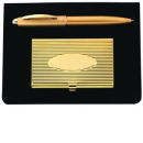 Card Case and Pen Gift Set in Gold