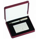 Silver Pen and Card Case with Star and Crystals