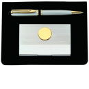 Silver Pen and Card Case with Gold Tone Emblem