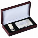 Card Case and Money Clip Gift Set in Silver