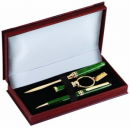 Pen, Letter Opener and Key Chain Gift Set in Green
