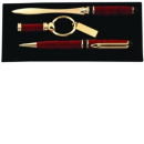 Pen, Letter Opener and Key Chain Gift Set in Wine