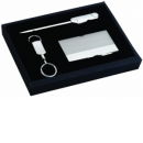 Card Case, Key Chain and Letter Opener Gith Set Silver Tone