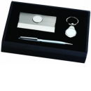 Card Case, Ball Point Pen and Key Chain Gith Set Silver Tone