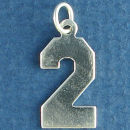 Number 2 Sports  Jersey Sterling Silver Charm Pendant
