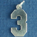 Number 3 Sports  Jersey Sterling Silver Charm Pendant