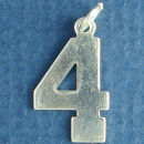 Number 4 Sports  Jersey Sterling Silver Charm Pendant
