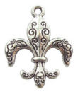 Fleur De Lis Charm in Antique Silver Pewter with Scroll Accents