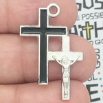 Crucifix Cross Charm in Pewter with Black Enamel