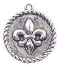 Rope Edge Disk Fleur De Lis Charm in Antique Silver Pewter