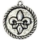 Silver Fleur De Lis Charm Wholesale on Disk in Pewter