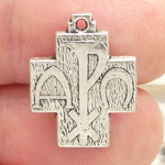 Silver Alpha and Omega Cross Pendant in Pewter