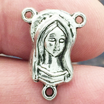 Mother Mary Rosary Centers for Rosaries in Silver Pewter