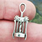 Corkscrew Wine Charm in Antique Silver Pewter