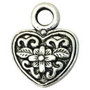 Silver Heart Charm Pendant with Flower Design in Pewter