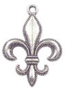 Fleur De Lis Charm in Antique Silver Pewter with Beaded Edge