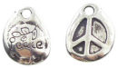 Teardrop Peace Charm in Antique Silver Pewter
