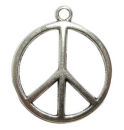 Peace Charm in Antique Silver Pewter Medium Sized