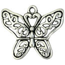 Silver Filigree Butterfly Charm Pendant in Pewter