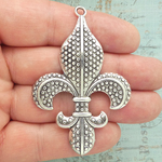 Silver Fleur De Lis Pendants Bulk in Pewter with Beaded Accents