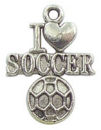 I Love Soccer Charm in Antique Silver Pewter