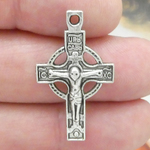 Orthodox Crucifix Charms Bulk in Antique Silver Pewter