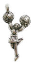 Cheerleader Charm Antique Silver Pewter