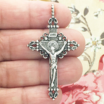 Crucifix Cross Charm Pendant Large in Ornate Antique Silver Pewter
