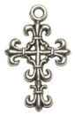 Cross Charm Pendant Small with Fleur De Lis Design in Antique Silver Pewter